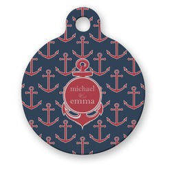 All Anchors Round Pet Tag (Personalized)