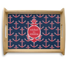 All Anchors Natural Wooden Tray - Large (Personalized)