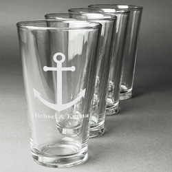 All Anchors Beer Glasses (Set of 4) (Personalized)