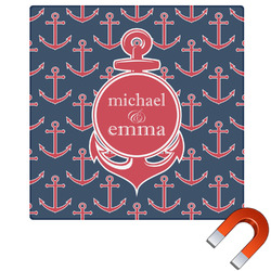 """All Anchors Square Car Magnet - 6"""" (Personalized)"""