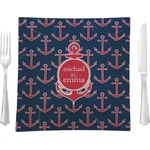 "All Anchors Glass Square Lunch / Dinner Plate 9.5"" - Single or Set of 4 (Personalized)"