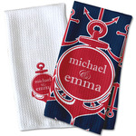 All Anchors Waffle Weave Kitchen Towel (Personalized)