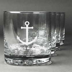 All Anchors Whiskey Glasses (Set of 4) (Personalized)