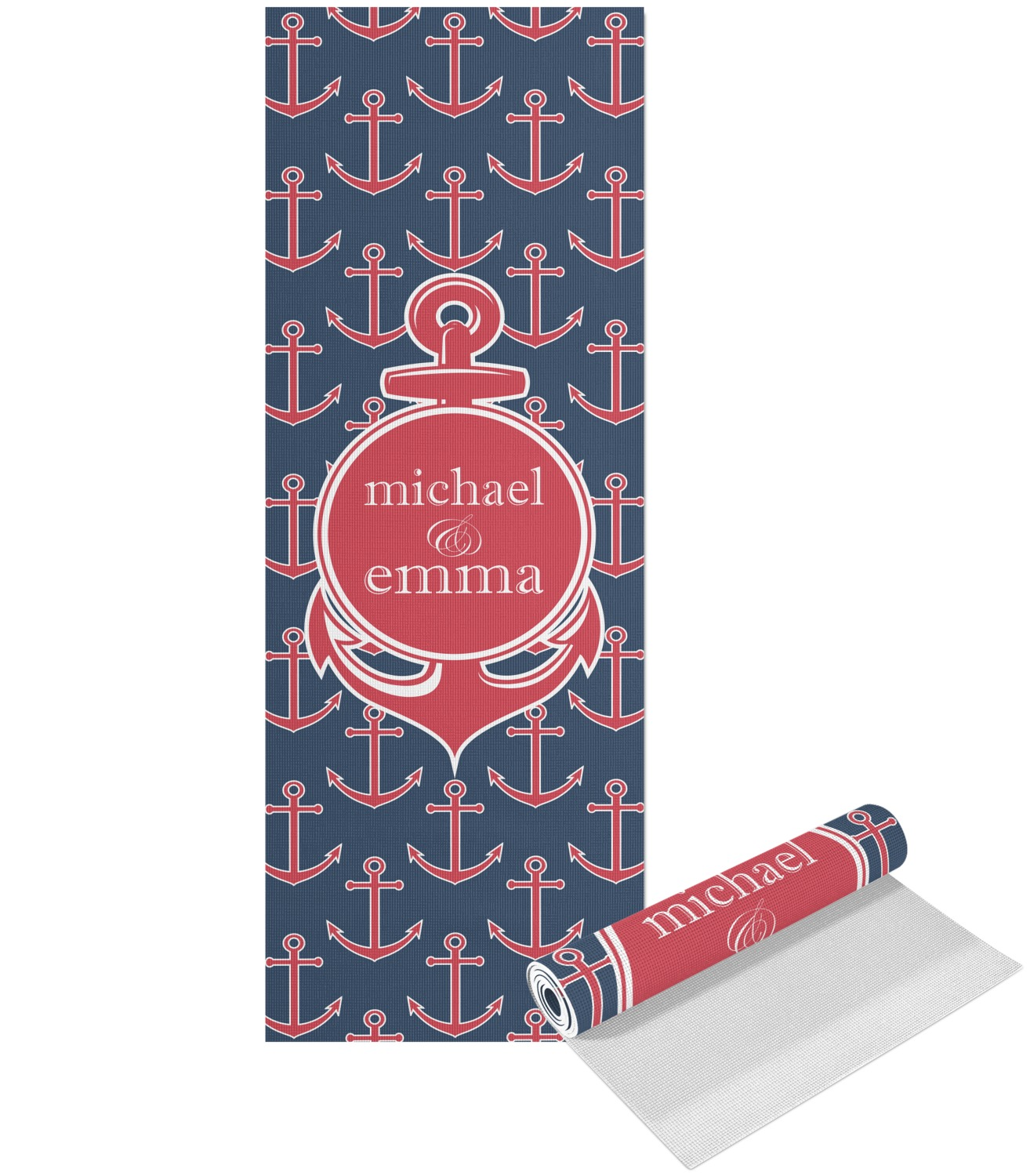 Yoga Mat With Anchors Chevron Anchor Yoga Mat Personalized