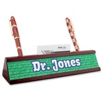 Equations Red Mahogany Nameplate with Business Card Holder (Personalized)