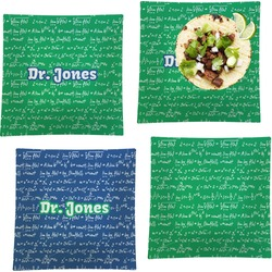 """Equations Set of 4 Glass Square Lunch / Dinner Plate 9.5"""" (Personalized)"""
