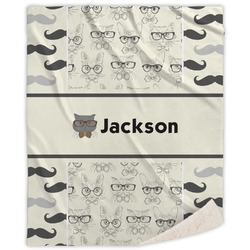 Hipster Cats & Mustache Sherpa Throw Blanket (Personalized)