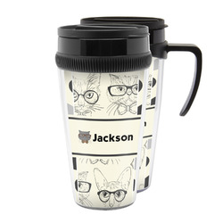 Hipster Cats & Mustache Acrylic Travel Mugs (Personalized)