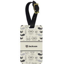 Hipster Cats & Mustache Aluminum Luggage Tag (Personalized)