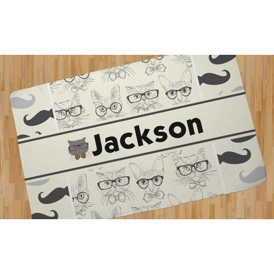 """Hipster Cats & Mustache Area Rug - 2'6""""x4' (Personalized)"""