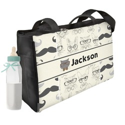 Hipster Cats & Mustache Diaper Bag (Personalized)