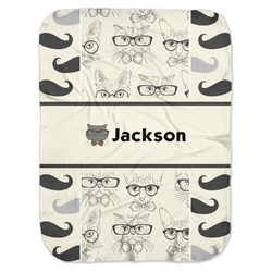 Hipster Cats & Mustache Baby Swaddling Blanket (Personalized)
