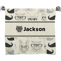 Hipster Cats & Mustache Full Print Bath Towel (Personalized)