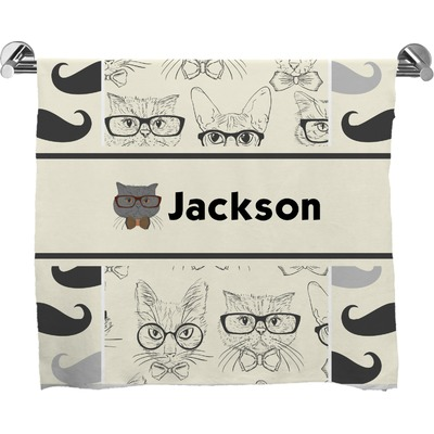 Hipster Cats & Mustache Bath Towel (Personalized)