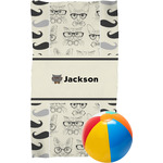 Hipster Cats & Mustache Beach Towel (Personalized)