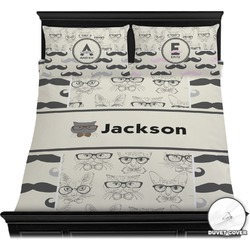 Hipster Cats & Mustache Duvet Cover Set (Personalized)