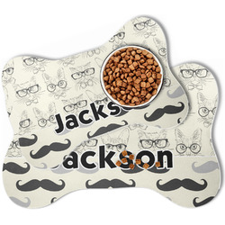 Hipster Cats & Mustache Bone Shaped Dog Food Mat (Personalized)