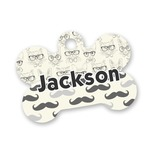 Hipster Cats & Mustache Bone Shaped Dog ID Tag (Personalized)