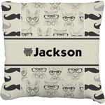 Hipster Cats & Mustache Burlap Throw Pillow (Personalized)