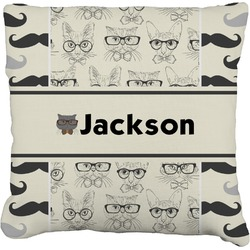 Hipster Cats & Mustache Faux-Linen Throw Pillow (Personalized)