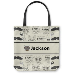 """Hipster Cats & Mustache Canvas Tote Bag - Large - 18""""x18"""" (Personalized)"""