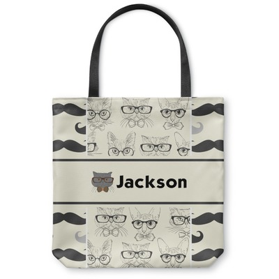 Hipster Cats & Mustache Canvas Tote Bag (Personalized)