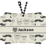Hipster Cats & Mustache Rear View Mirror Ornament (Personalized)