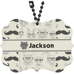 Hipster Cats & Mustache Rear View Mirror Charm (Personalized)