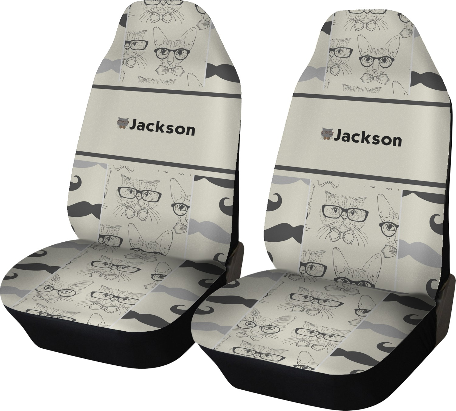 Hipster Cats Amp Mustache Car Seat Covers Set Of Two