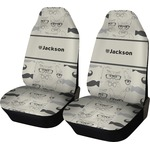 Hipster Cats & Mustache Car Seat Covers (Set of Two) (Personalized)