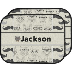 Hipster Cats & Mustache Car Floor Mats (Back Seat) (Personalized)