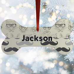 Hipster Cats & Mustache Ceramic Dog Ornaments w/ Name or Text