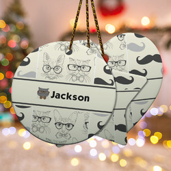 Hipster Cats & Mustache Ceramic Ornament - Double Sided w/ Name or Text