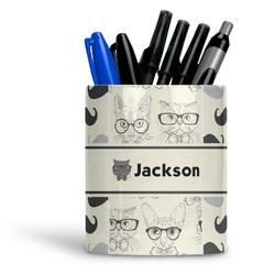 Hipster Cats & Mustache Ceramic Pen Holder