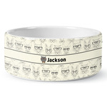 Hipster Cats & Mustache Ceramic Pet Bowl (Personalized)