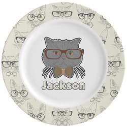 Hipster Cats & Mustache Ceramic Dinner Plates (Set of 4) (Personalized)