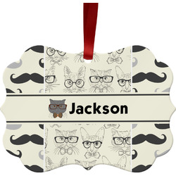 Hipster Cats & Mustache Ornament (Personalized)