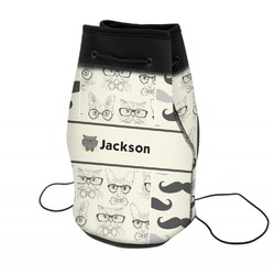 Hipster Cats & Mustache Neoprene Drawstring Backpack (Personalized)