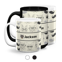 Hipster Cats & Mustache Coffee Mugs (Personalized)