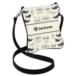 Hipster Cats & Mustache Cross Body Bag - 2 Sizes (Personalized)
