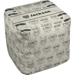 Hipster Cats & Mustache Cube Pouf Ottoman (Personalized)
