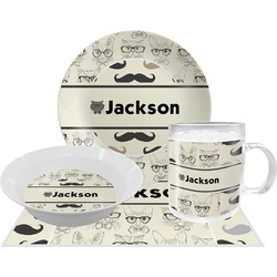 Hipster Cats & Mustache Dinner Set - 4 Pc (Personalized)