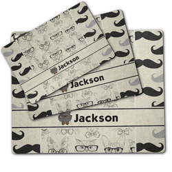 Hipster Cats & Mustache Dog Food Mat w/ Name or Text