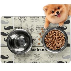 Hipster Cats & Mustache Dog Food Mat - Small w/ Name or Text