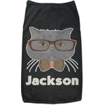 Hipster Cats & Mustache Black Pet Shirt (Personalized)