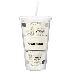 Hipster Cats & Mustache Double Wall Tumbler with Straw (Personalized)