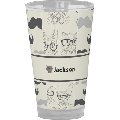 Hipster Cats & Mustache Drinking / Pint Glass (Personalized)