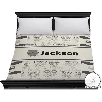 Hipster Cats & Mustache Duvet Cover - King (Personalized)