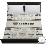 Hipster Cats & Mustache Duvet Cover (Personalized)