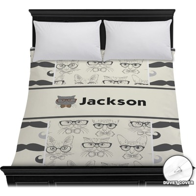 Hipster Cats & Mustache Duvet Cover - Full / Queen (Personalized)